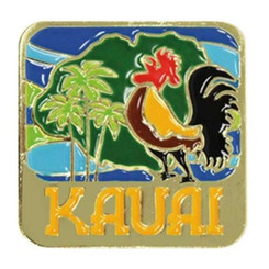 Hawaiian Lapel Or Hat Pin Kauai Rooster Blue, Gold