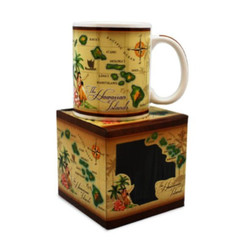 Hawaiian Coffee Mugs 4 Pack Vintage Map