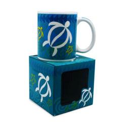 Hawaiian Coffee Mugs 4 Pack Swirling Honu