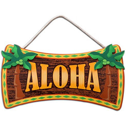 "Aloha Wood Sign 16"" X 8.5"""