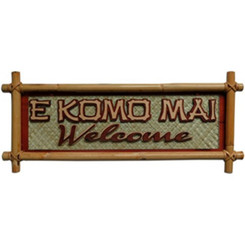 Hawaiian Small Bamboo Sign E Komo Mai Welcome