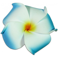 Foam Flower Medium Hair Clip Plumeria Blue, White