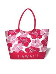 Large Beach Tote Modern Hibiscus Pink Hawai'I