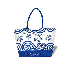 Large Beach Tote Honu Swirl Blue Hawaii