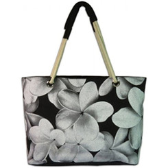 Beach Tote Bag Aloha Pua Gray, Black