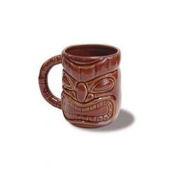 4 Tiki 12 Oz. Coffee Mugs Dark Brown