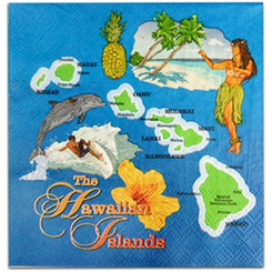 Hawaiian Cocktail Beverage Paper Party Napkins Island Map