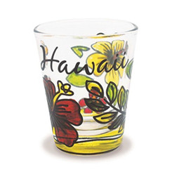 Blooming Hibiscus Stained Shot Glass