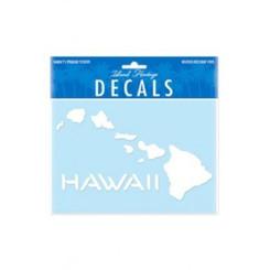"Hawaiian Islands White 6-3/8"" X 4-3/8"" Decal Sticker"
