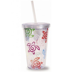 Honu Swirl Rainbow Travel Tumbler With Straw 16 Oz