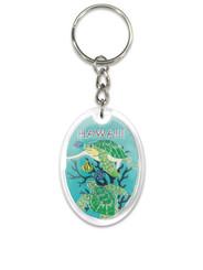 Hawaii Acrylic Foil Keychain Green Honu Turtle