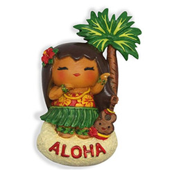 Hand Painted Island Yumi Aloha Magnet