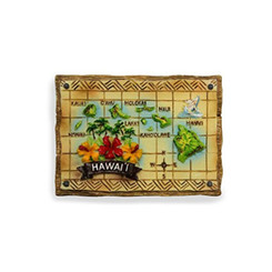 Hand Painted Hawaiian Island Map Magnet