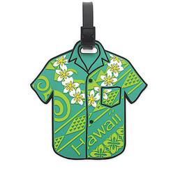 PVC Id Luggage Tag Aloha Shirt Green