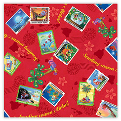 Mele Stamps Hawaiian Christmas Holiday Continuous Gift Wrap Paper 2 Rolls