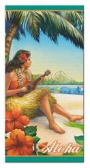 Hawaiian Beach Towel Vintage Hula Girl