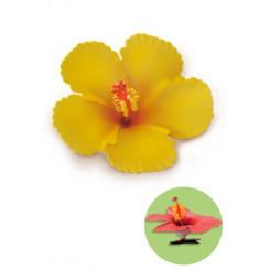 Hibiscus Clip Foam Flower Yellow