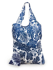 Foldable Tote Shopping Bag Hibiscus Floral Blue