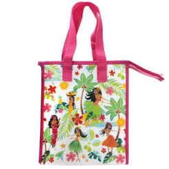 Hawaiian Island Hula Honeys Pink Small Insulated Reusable Lunch Bag