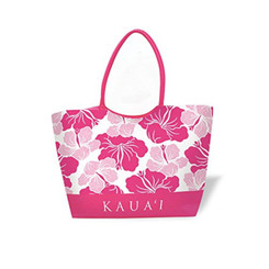 Large Beach Tote Modern Hibiscus Pink Kauai