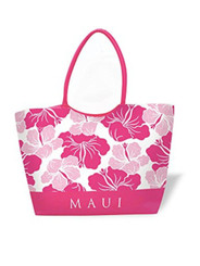 Large Beach Tote Modern Hibiscus Pink Maui