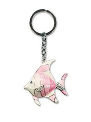 Hawaiian Key Chain Metal Bling Pink Angel Fish