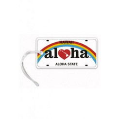 Luggage Tag Aloha License White, Black, Red