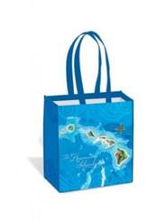 Tote Bag Hawaii Map Island Blue, Green, White