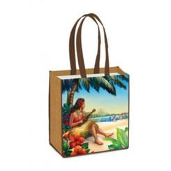 Reusable Tote Bag Vintage Blue, Green, Brown