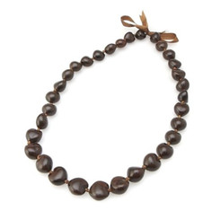 Hawaiian Lei 28 Inch 32 Kukui Nuts Brown