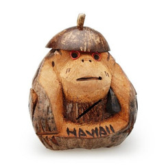 Hawaiian Style Coconut Monkey Bank 6 To 8 Inches