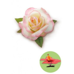 Rose Clip Silk Flower White & Pink