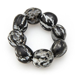 Bracelet 8 To 9 Kukui Nuts Black & White