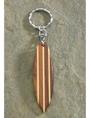 Wooden Brown Surfboard Keychain