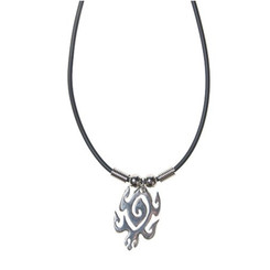 Rubber Cord Necklace Pewter Large Maori Turtle
