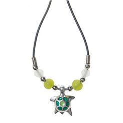 Rubber Cord Necklace Pewter Enamel Turtle