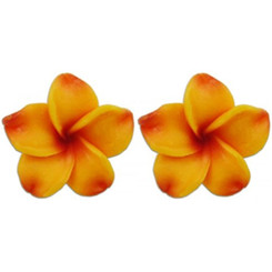 Fimo Flower Pierced Mini Earrings Plumeria Goldenrod