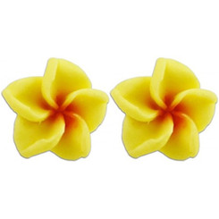 Fimo Flower Pierced Petite Earrings Plumeria Yellow