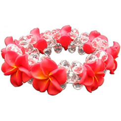 Fimo Flower Bling Beaded Bracelet Pink