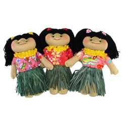 Hawaii Soft Cloth Doll Dressed In Grass Hula Skirt & Shirt With Yarn Hair