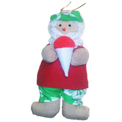 Hawaiian Style Christmas Ornament Fabric Santa With Shaved Ice