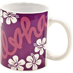 Hawaiian Coffee Mugs 2 Pack Aloha Heart