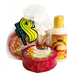 Hawaiian Bubble Shack Loofah Soap & Body Lotion Duo Gift Set Plumeria Sunset