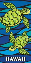 Hawaii Style Beach Towel Blue Honu Turtle Sea Glass