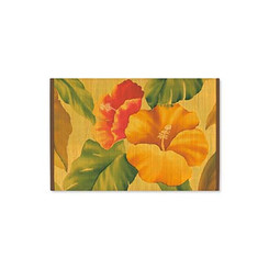 Hawaiian Style Bamboo Placemat Vintage Hibiscus Set Of 4