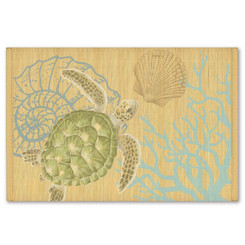 Hawaiian Style Bamboo Placemat Honu Turtle Voyage Set Of 4