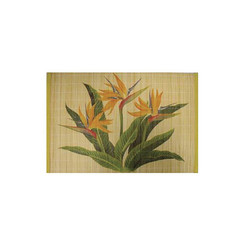 Hawaiian Style Bamboo Placemat Bird of Paradise Set Of 4
