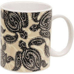 Stoneware Coffee Mugs 2 Pack Tribal Honu Turtle 11 oz.