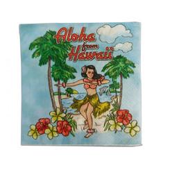 4 Packs Hawaiian Cocktail Beverage Paper Party Napkins Hula Girl