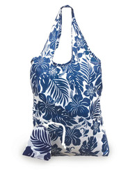 Pack Of 2 Foldable Reusable Shopping Tote Bags Hibiscus Floral Blue